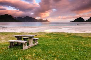 Picnic table on a beach in Norway: Lofoten islands